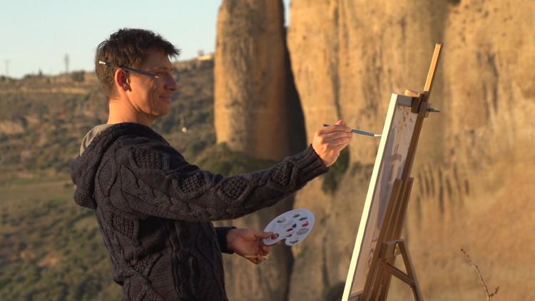 Холостяк в горах рисует